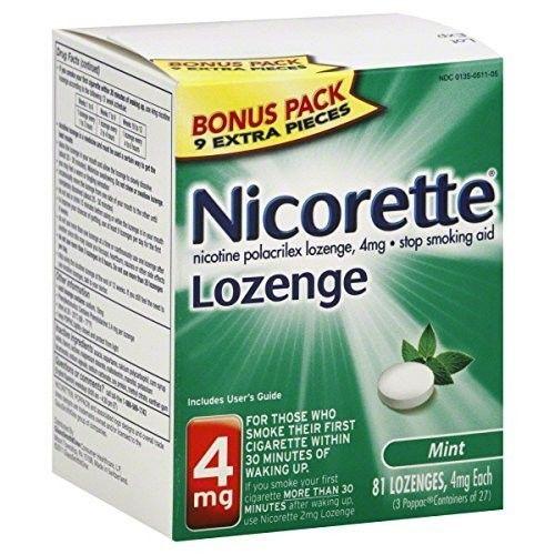 NICORETTE LOZENGE l BONUS PACK l 4MG l 81 LOZENGES l MINT