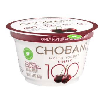Chobani® Simply 100 Non-Fat Greek Yogurt Black Cherry On The Bottom