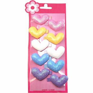 Girls' Glitter Heart Snap Clips