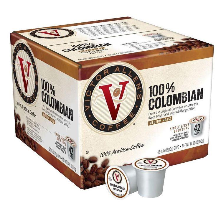 Victor Allens Coffee & Espresso 100% Colombian Coffee (42 Single Serve Cups per Case) FG014231