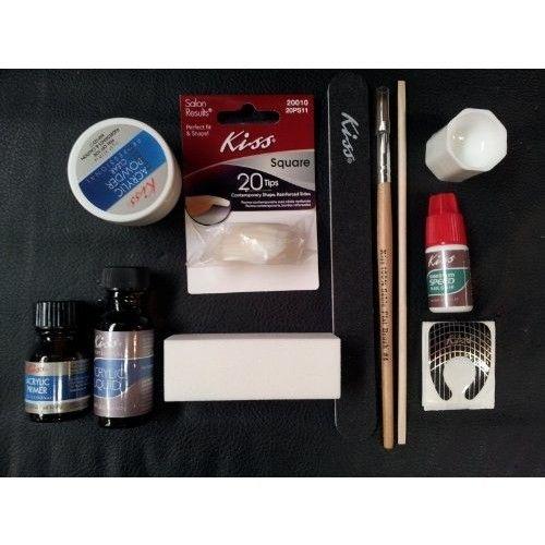 Kiss Complete Acrylic Sculpture Kit-Starter Nail kit with Maximum Speed Nail Glue / Acrylic primer/Acrylic Liquid/Acrylic Powder/20 Natural Nail Tips/20 Nail Forms/Brush/Nail File and White Buff Block