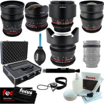 Rokinon Full Cine Lens Kit - 35mm + 24mm + 14mm + 85mm + 8mm for Canon + Protect