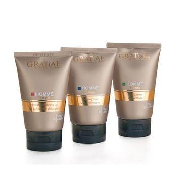 Gratiae Organic Beauty By Nature Men Kit / Set - Nourishing Cream + Facial Cleanser + Refreshing Moisturizing Gel