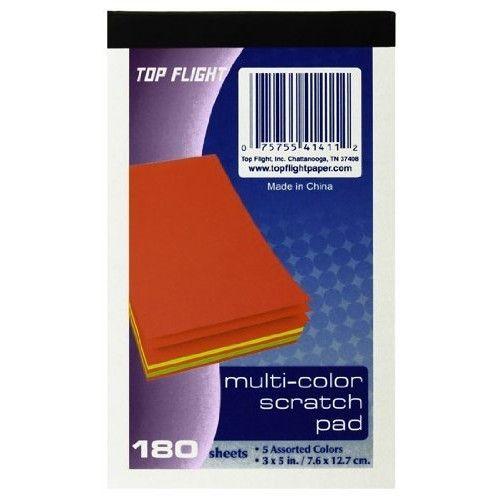 Top Flight Scratch Pads, 3 x 5 Inches, Multi-Colored Paper, 180 Sheets per Pad (4650123)