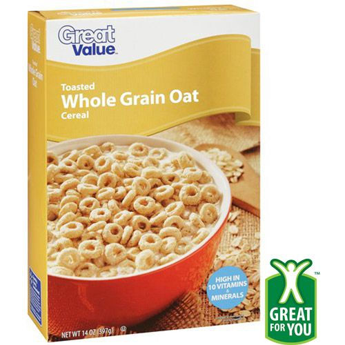Great Value Toasted Whole Grain Oat Cereal, 14 oz