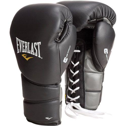 Everlast Black 14oz ProTex2 Leather Training Gloves Lace