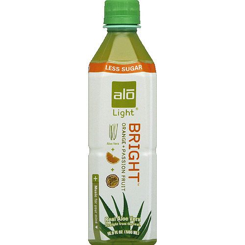 Alo Light Bright Orange + Passion Fruit Aloe Vera Drink, 16.9 fl oz, (Pack of 12)