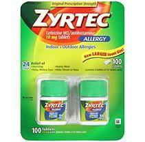Zyrtec Cetrizine HCl/Antihistamine 10mg (100 ct.)