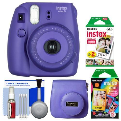 Fujifilm Instax Mini 8 Instant Film Camera (Grape) with 20 Twin & 10 Rainbow Prints + Case + Kit