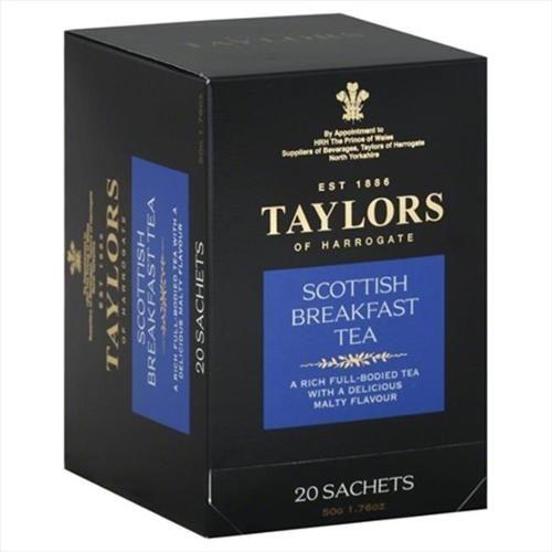 Taylors Of Harrogate Black Tea Scottish Breakfast Tea 20-Count Wrapped Tea Bags - -Pack of 6