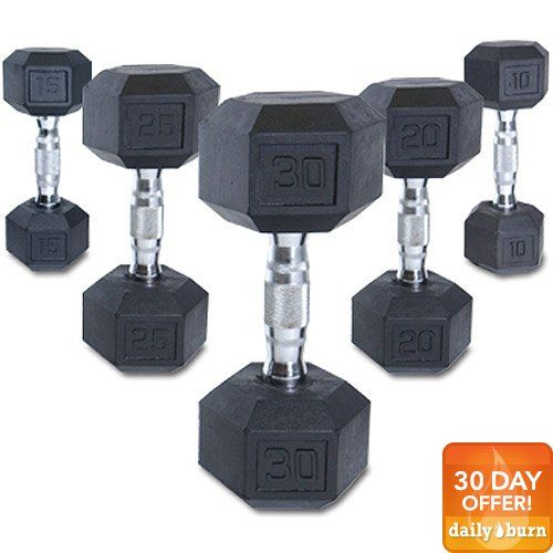 Cap Barbell SDR-005 CAP 5 lb Rubber Coated Hex Dumbbell with Contoured Chrome Handle