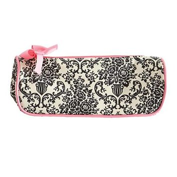 Jessie Steele 902-JS-229C Cream And Black Bouquet Damask Brush Cosmetic Bag Pack Of 2
