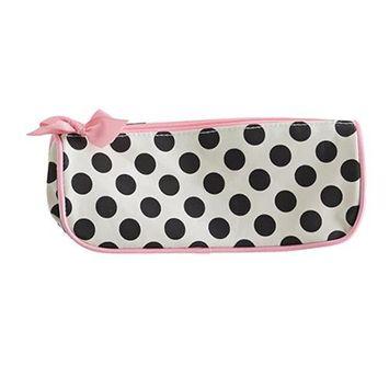Jessie Steele 902-JS-68C Cream And Black Polka Dot Brush Cosmetic Bag Pack Of 2
