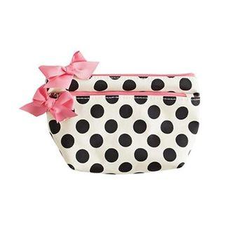 Jessie Steele 903-JS-68C Cream And Black Polka Dot Petite Cosmetic Bag Pack Of 2