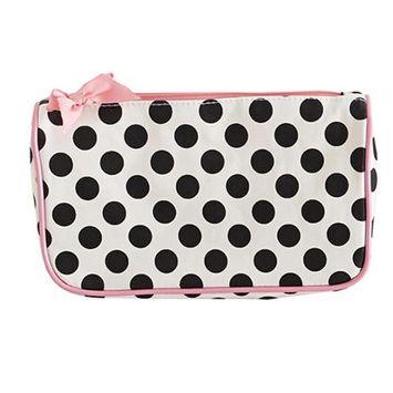 Jessie Steele 904-JS-68C Cream And Black Polka Dot Generous Cosmetic Bag Pack Of 2
