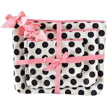 Jessie Steele 906-JS-68C Cream And Black Polka Dot 3 Piece Gift Set Pack Of 2