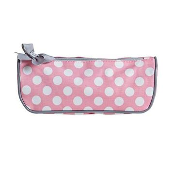 Jessie Steele 902-JS-94RP Rosy Pink Polka Brush Cosmetic Bag Pack Of 2