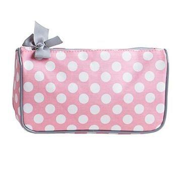 Jessie Steele 904-JS-94RP Rosy Pink Polka Generous Cosmetic Bag Pack Of 2
