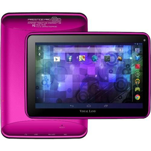 Visual Land Prestige Pro 8d 8GB Tablet - 8 - Wireless Lan - Arm Cortex A9 1.50 Ghz - Magenta - 1GB RAM - Android 4.2 Jelly Bean - Slate Multi-touch Screen Display (me-8d-8GB-mag)