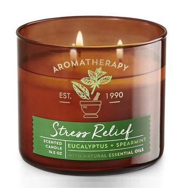 Bath & Body Works® Aromatherapy STRESS RELIEF - EUCALYPTUS & SPEARMINT 3-Wick Candle