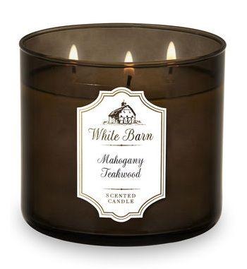 Bath & Body Works® White Barn MAHOGANY TEAKWOOD 3-Wick Candle