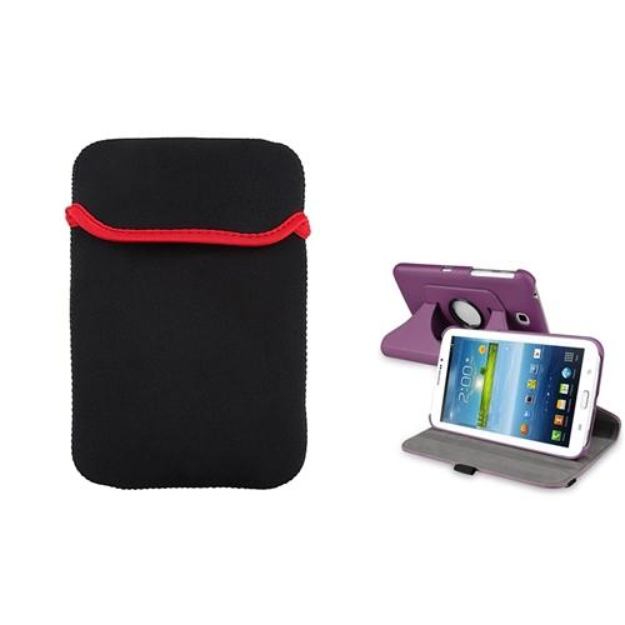Insten INSTEN Purple 360 Leather Case+Tablet Sleeve Pouch For Samsung Galaxy Tab 3 7.0 P3200
