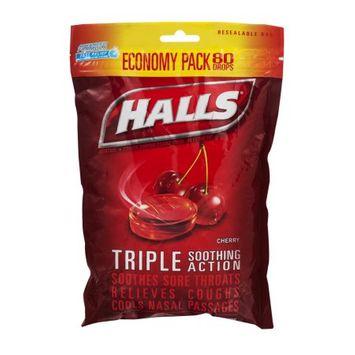 HALLS Menthol Cherry Cough Drops Triple Action
