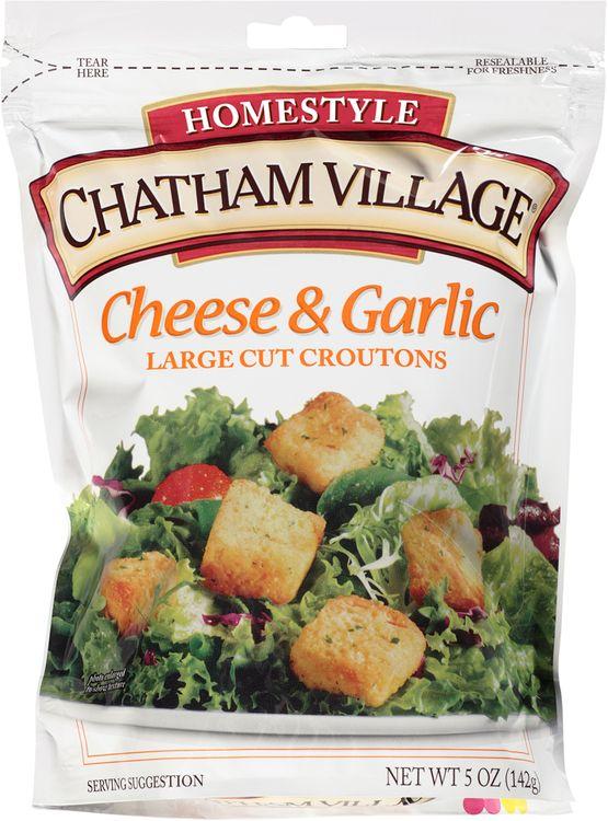 chatham village® cheese & garlic large cut croutons