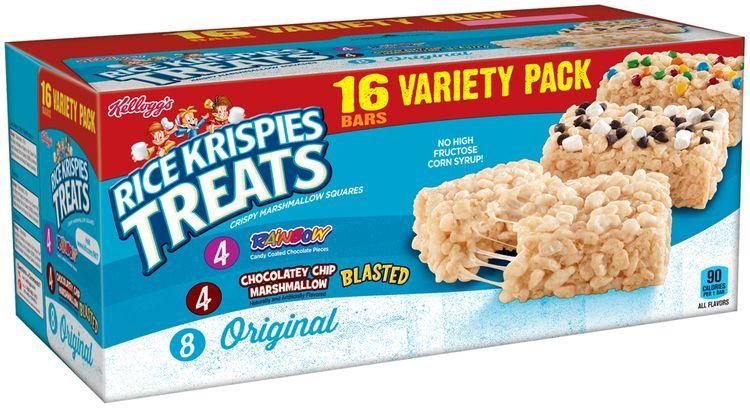 Kellogg's® Rice Krispies Treats® Rainbow™ Chocolatey Chip Marshmallow/Original Crispy Marshmallow Squares