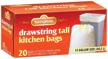 Springfield Kitchen Drawstring Tall White 13 Gal Bags 20 Ct Box
