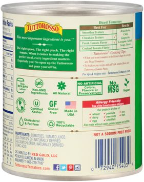 Tuttorosso® All Natural No Salt Added Italian Style Diced Tomatoes in Rich Tomato Sauce