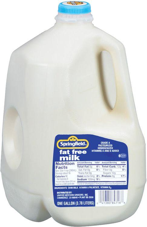Springfield Fat Free Milk 1 Gal Jug