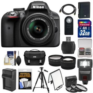 Nikon D3300 Digital SLR Camera & 18-55mm G VR DX II AF-S Zoom Lens (Black) with 32GB Card + Battery & Charger + Case + Tripod + Flash + Tele/Wide Lens Kit