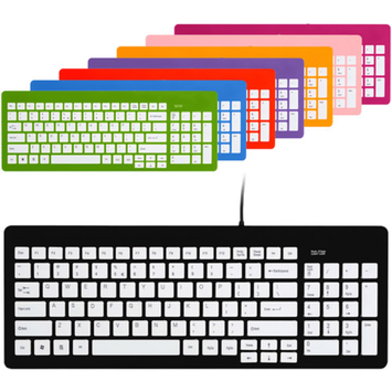 Wintec FileMate Imagine Series USB Standard Keyboard, Assorted Colors