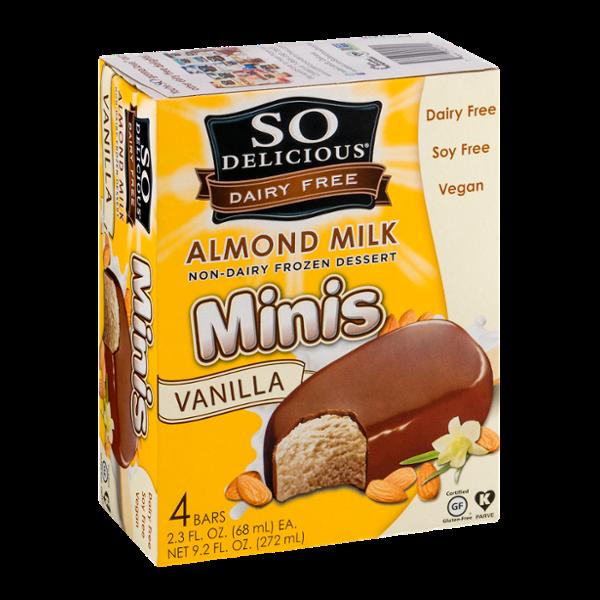 So Delicious Dairy Free Almond Milk Frozen Dessert Minis Vanilla Bars - 4 CT
