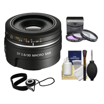 Sony Alpha DT 30mm f/2.8 Macro SAM Lens with 3 UV/FLD/CPL Filter Set + Cleaning Kit