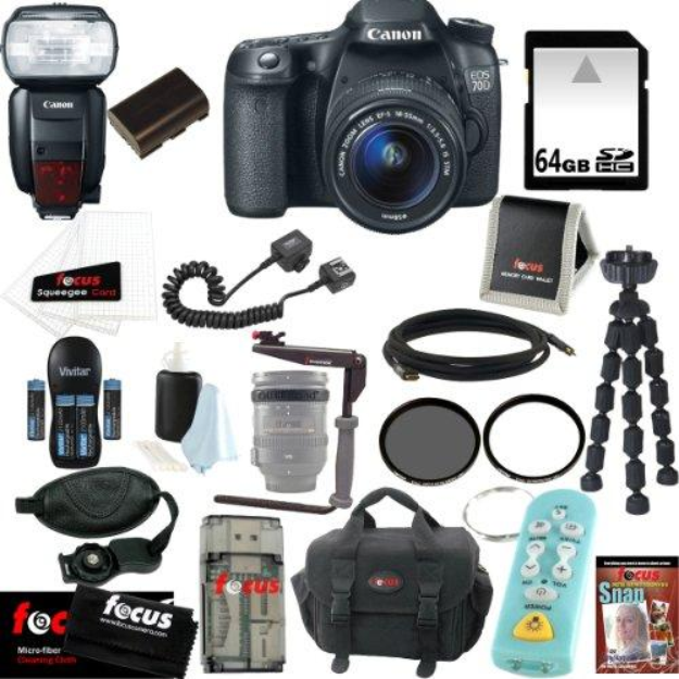 Canon EOS 70D Digital SLR Camera with 18-55mm Lens Bundle