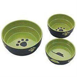 Ethical Stoneware Dish 688841 7 in. Fresco Dog Dish - Green