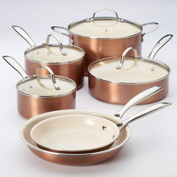 Food Network™ 10-pc. Nonstick Ceramic Cookware Set, Red/Coppr (Rust/Coppr)