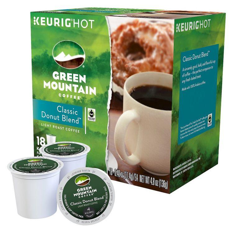 Green Mountain Coffee Classic Donut Blend Light Roast Coffee K-Cups 18 ct