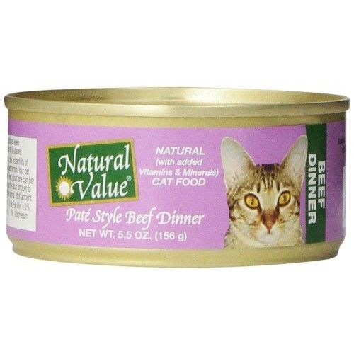 Natural Value Pate Style Beef Dinner Cat Food, 5.5 Ounce Cans (Pack of 24)