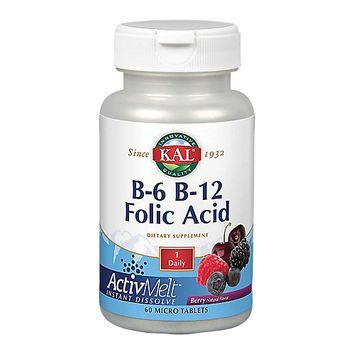 Kal - B6 B12 & Folic Acid ActivMelt Berry - 60 Tablets