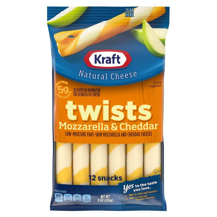 Kraft Mozzarella & Cheddar String Cheese Twists, 12 ct - 9.0 oz Packageed