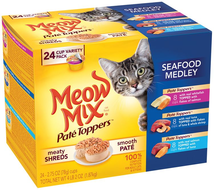 Meow Mix Pate Toppers Seafood Medley Wet Cat food Variety Pack