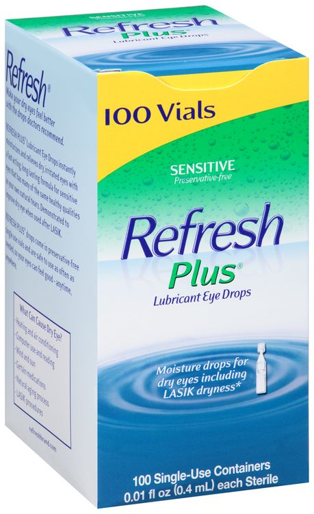 Refresh Plus® Lubricant Eye Drops Sensitive 100 ct. Box