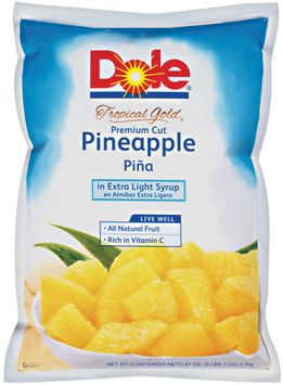 Dole Tropical Gold Premium Cut Pineapple in Extra Light Syrup