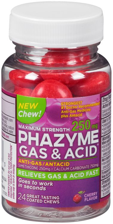 Phazyme® Maximum Strength Anti-Gas/Antacid Cherry Flavor Coated Chews 24 ct Bottle