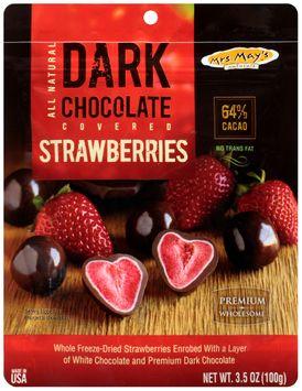 mrs may's naturals™ dark chocolate covered strawberries