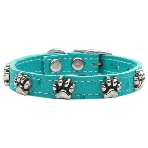Mirage Dog Supplies Faux Ostrich Paw Leather Turquoise 10