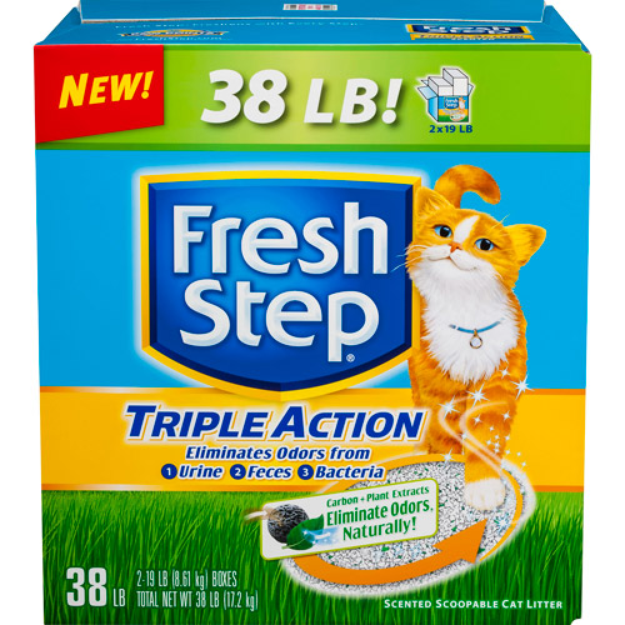 Fresh Step Triple Action Odor Control Scoopable Cat Litter, Scented, 38 Pounds